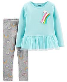 Baby Girls 2-Pc. Peplum Top & Rainbow-Print Leggings Set