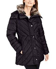 Puffer Coat With Faux-Fur Trim