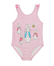 Baby Girls Gingham Print V-Back One Piece Swimsuit