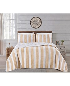 Great Bay Home Casco Bay Coastal Collection 3-Piece Quilt Set, Full/Queen