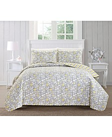 Great Bay Home Oreti Coastal Collection 3-Piece Quilt Set, Full/Queen
