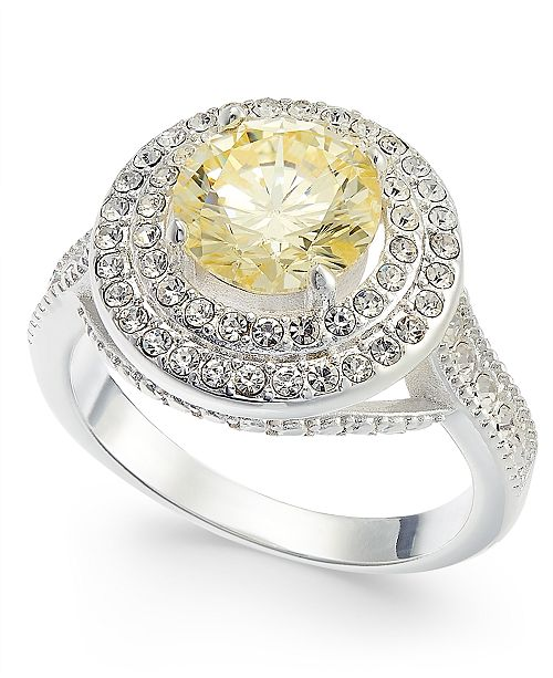 Charter Club Silver-Tone Crystal Round Halo Ring, Created For Macy's