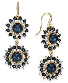 Gold-Tone Crystal & Imitation Pearl Burst Double Drop Earrings, Created For Macy's