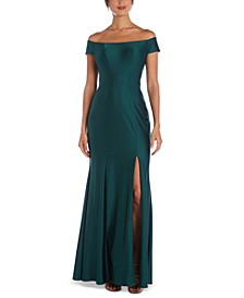 Sateen Off-The-Shoulder Gown
