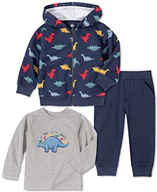 Baby Boys 3-Pc. Dinosaur Fleece Hoodie, Jogger Pants & Long-Sleeve T-Shirt Set