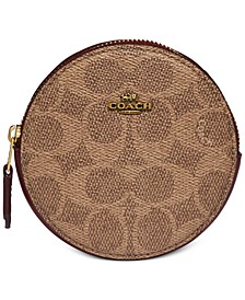 Coated Canvas Signature Round Coin Case