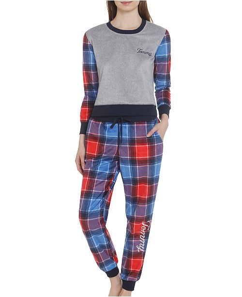 Tommy Hilfiger Women's Plaid Brushed Fleece Pajama Set