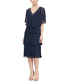 Beaded V-Neck Capelet & Dress