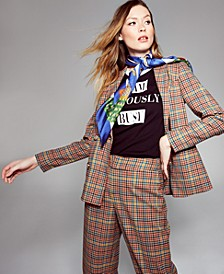 INC Double-Breasted Plaid Blazer, Created For Macy's