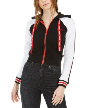 Dickies Junior's Hooded Zip-front Cotton Jacket In White Black Red