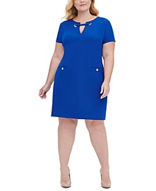 Plus Size Scuba Crepe Pocket Shift Dress