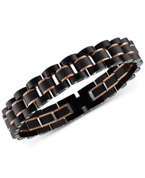 Watch Link Bracelet in Stainless Steel and Black Carbon Fiber