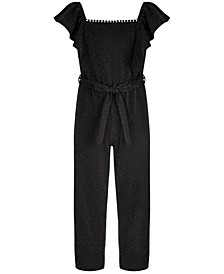 Big Girls Belted Sparkle Jumpsuit