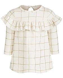 Baby Girls Glitter-Check-Print Ruffle Dress, Created for Macy's
