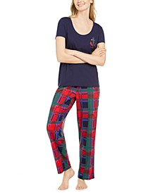 Women's Scoop Neck Top & Matching Plaid Pajama Pants, Online Only