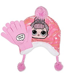Little & Big Girls 2-Pc. Reversible Sequin Hat & Gloves Set