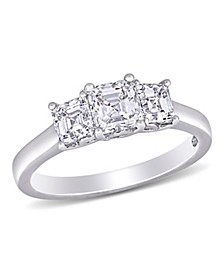 Asscher-Cut Certified Diamond (1 1/2 ct. t.w.) 3- Stone Engagement Ring in 14k White Gold