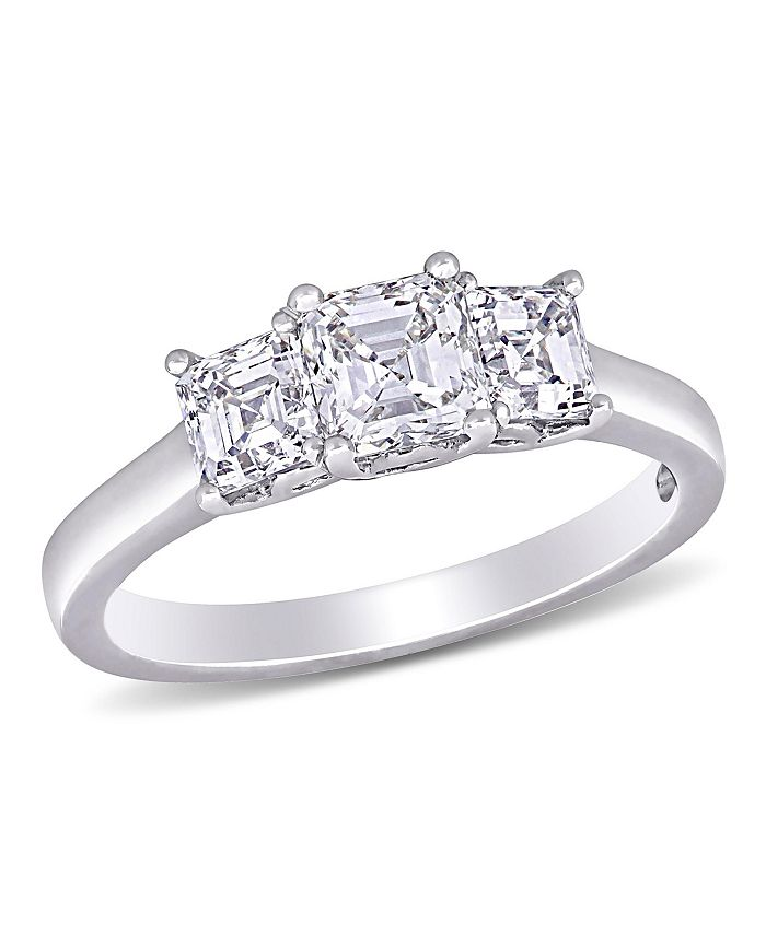 Macy's - Asscher-Cut Diamond (1 1/2 ct. t.w.) 3- Stone Engagement Ring in 14k White Gold