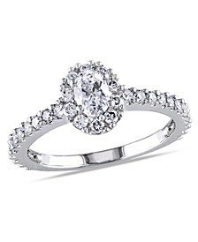 Oval Certified Diamond (1 ct. t.w.) Halo Engagement Ring in 14k White Gold