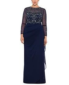 Plus Size Illusion Lace Gown