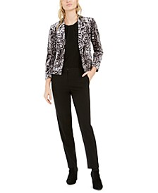 Animal-Print Velvet Jacket, Mixed-Media Draped-Neck Top & Straight-Leg Pants, Created For Macy's