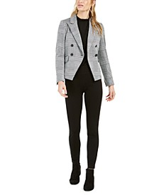 Plaid Jacket, Shirred-Neck Sheer-Sleeve Top & Skinny Pull-On Pants, Created For Macy's