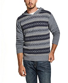 Men's Regular-Fit Geo Jacquard Hooded Sweater
