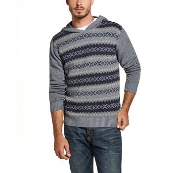 Weatherproof Vintage Men's Regular-Fit Geo Jacquard Hooded Sweater