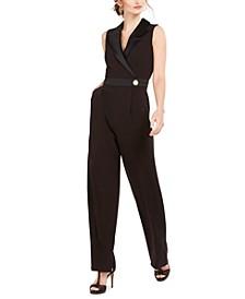 Sleeveless Tuxedo Jumpsuit