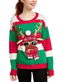 Juniors' Reindeer Christmas Sweater