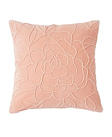 Home Velvet Floral Decorative Pillow