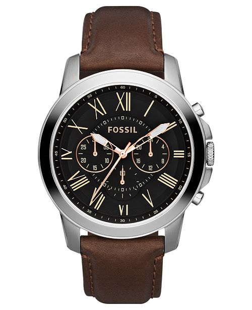 ... Fossil Men s Chronograph Grant Brown Leather Strap Watch 44mm FS4813 ... a6f32ecfbd44