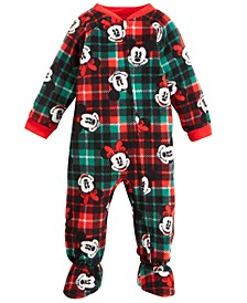 Baby Boys & Girls 1-Pc. Fleece Mickey & Minnie Mouse Footed Pajamas