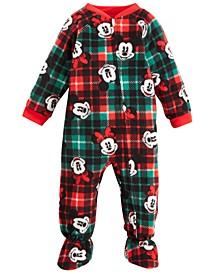 Baby Boys & Girls 1-Pc. Fleece Mickey & Minnie Mouse Footed Pajamas