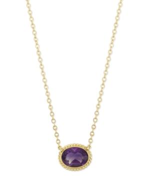 Gemstone Twist Gallery Necklace in 14k Yellow Gold