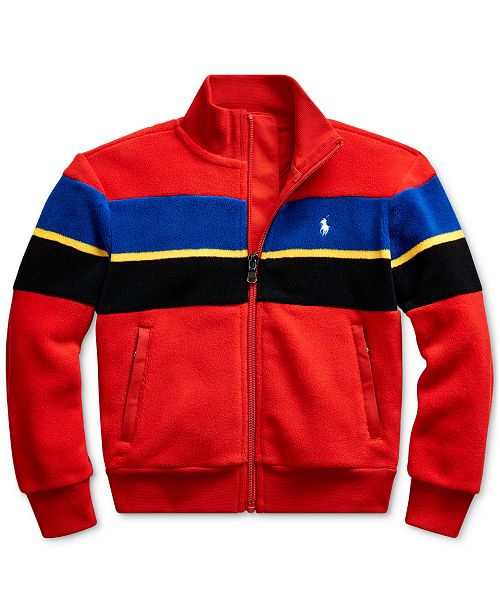 Polo Ralph Lauren Little Boys Striped Fleece Jacket, Created For Macy's