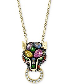 "EFFY® Multi-Sapphire (1-1/5 ct.-t.w.) & Diamond (1/20 ct. t.w.) Panther Doorknocker 18"" Pendant Necklace in 14k Gold"