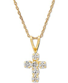 "Swarovski Zirconia Cross 18"" Pendant Necklace in 14k Gold"