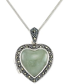 "Jade (13mm) & Marcasite Heart Locket 18"" Pendant Necklace in Sterling Silver"