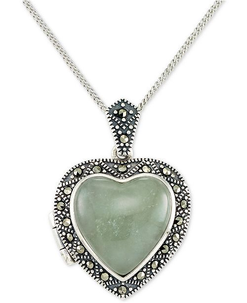 "Macy's Jade (13mm) & Marcasite Heart Locket 18"" Pendant Necklace in Sterling Silver"