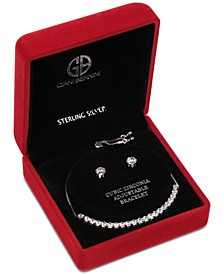 2-Pc. Set Cubic Zirconia Bolo Bracelet & Stud Earrings in Sterling Silver in Light Up Box, Created For Macy's