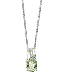 EFFY® Green Amethyst (3 ct. t.w.) Diamond Accent Necklace in 18k Yellow Gold and Sterling Silver