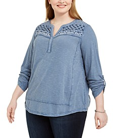 Plus Size Cotton Embellished Henley Top, Created For Macy's