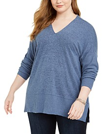 Plus Size Heathered-Knit Sweater, Created for Macy's