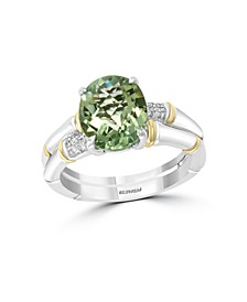 EFFY® Green Amethyst (2-3/8 ct. t.w.) Diamond Accent Ring in 18k Yellow Gold and Sterling Silver