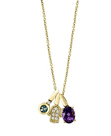 EFFY Multi Gemstone (1 3/8 ct.t.w.) and Diamond (1/10 ct.t.w) Pendant in 14K Rose Gold