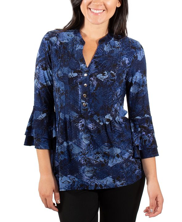 NY Collection Printed Bell-Sleeve Top