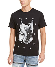 Men's Doberman Graphic and Textural Star T-Shirt