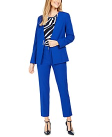 Collarless Blazer, Pleated Top & Skinny Pants