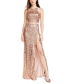 Juniors' 2-Pc. Sequinned Halter Dress